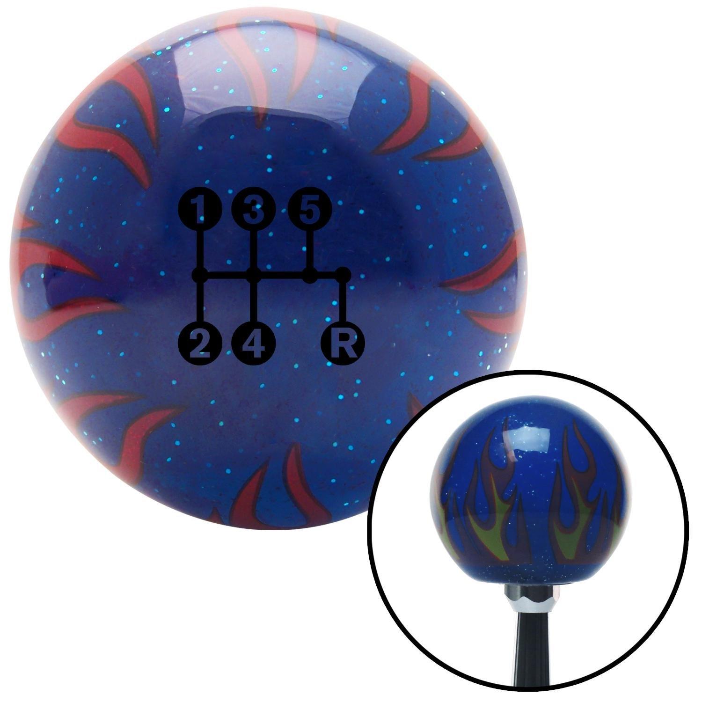Black 5 Speed Shift Pattern - Dots 15n Blue Flame Metal Flake with M16 x 1.5 Insert American Shifter 298282 Shift Knob