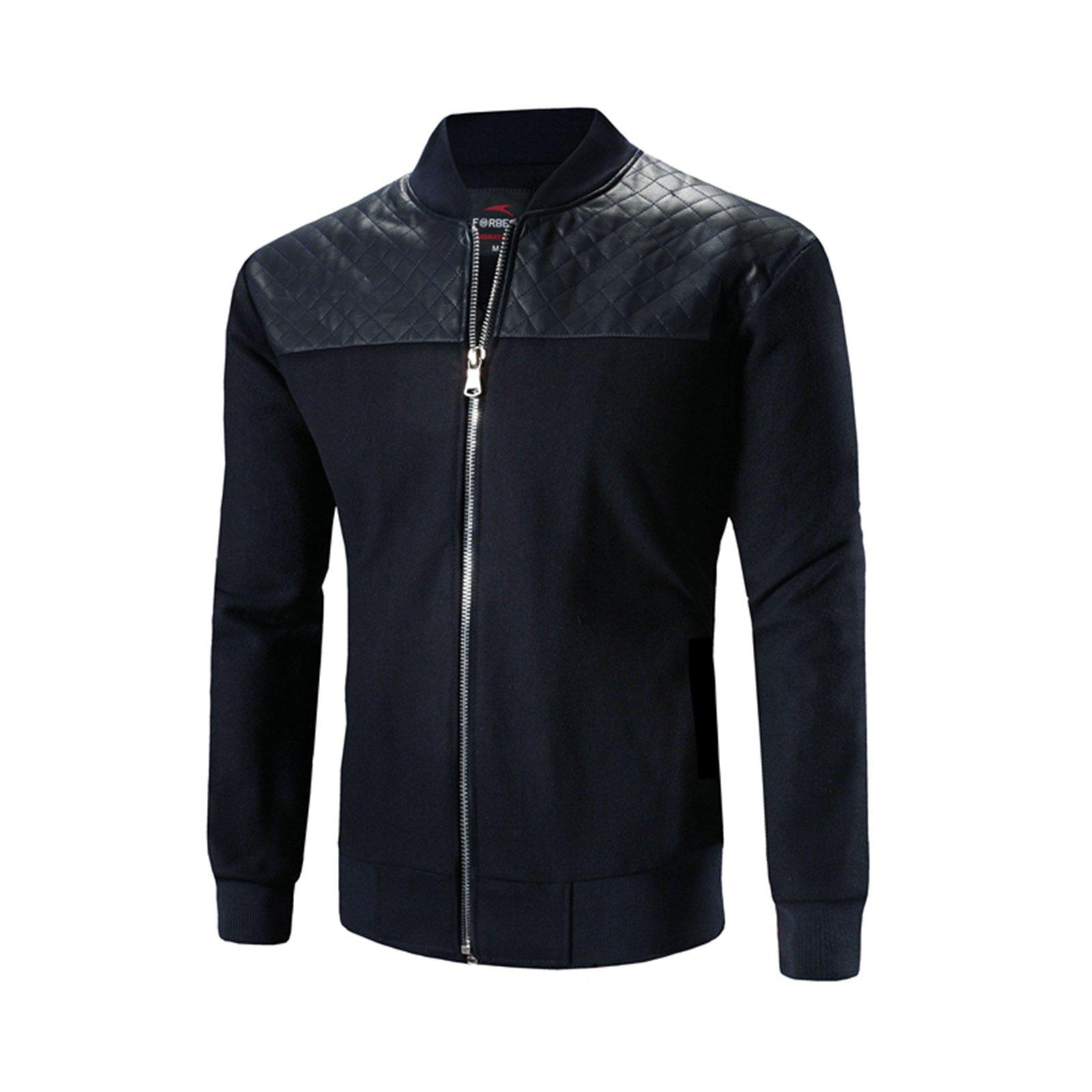 Stuff Autumn Winter Baseball Jacket Men Design Black Pu Leather Splice Mens Slim Fit Boy Jacket (M)