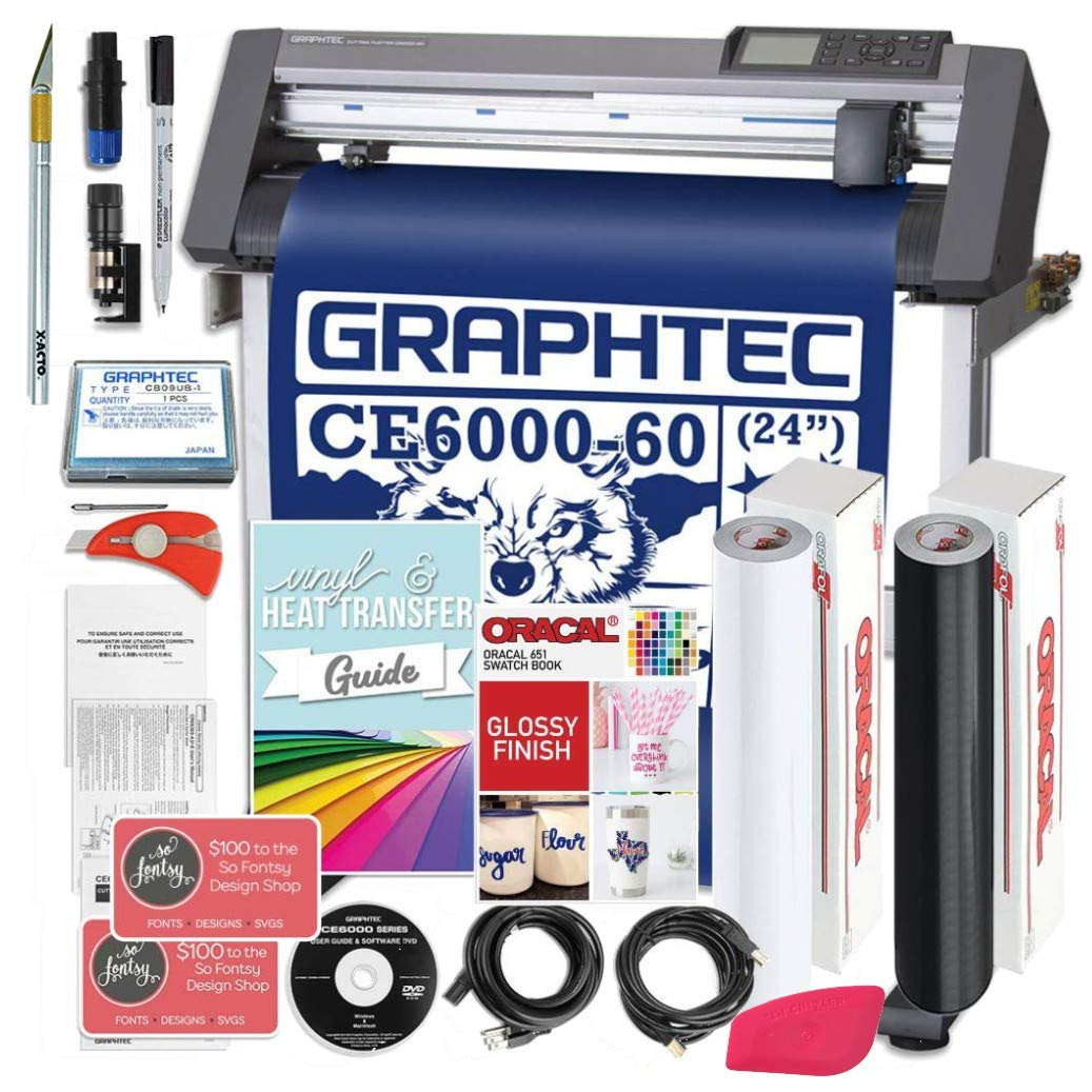 Graphtec PLUS CE6000-60 24 Inch Professional Vinyl Cutter with BONUS $700 in Software, Oracal 651, and 2 Year Warranty by Graphtec