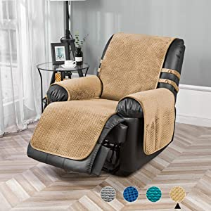 STONECREST Velvet Reversible Quilted Slipcover for Recliner Chair, Waterproof Washable Furniture Protector Cover for Dogs, Kids (Camel/Khaki, Recliner 23