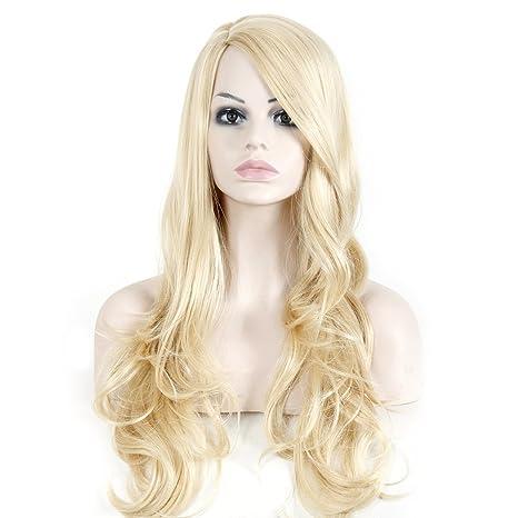 Largo ondulado culry Mujer Sintético Pelucas Cosplay De Halloween peluca
