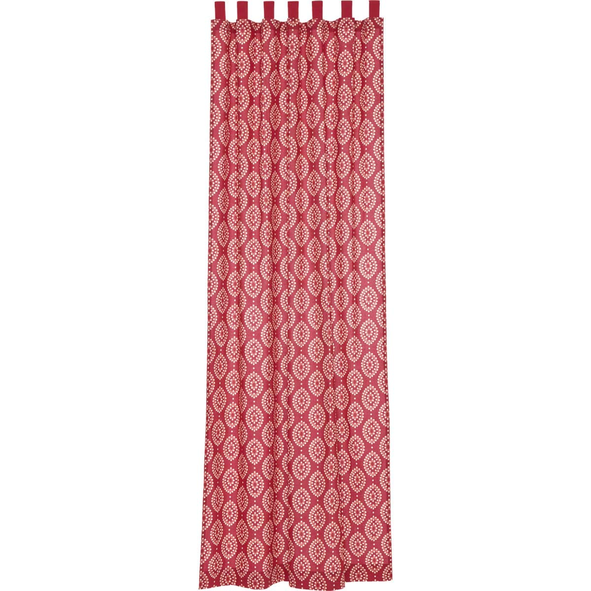 108 x 50 VHC Brands Coastal Window Paloma Red Tab Top Curtain Panel Crimson