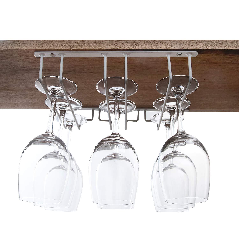 Asense Wine Glass Stemware Rack Hanger Under Cabinet Storage Home Bar, 3 Slots, Holds up to 6-9 Wine Glasses Stemware, White Color