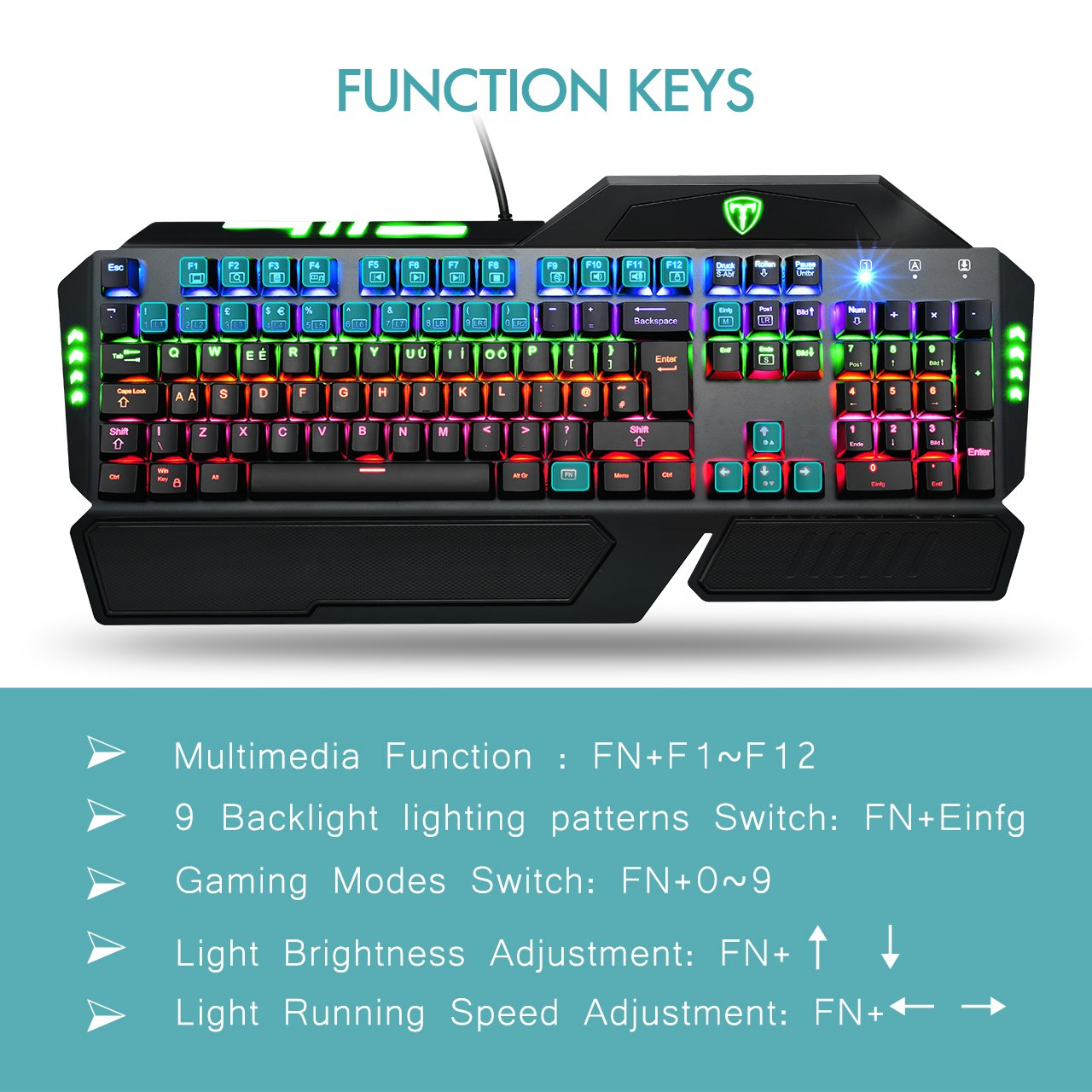 Mechanical Keyboard, Pictek Gaming Keyboard 105-Key LED: Amazon.co ...