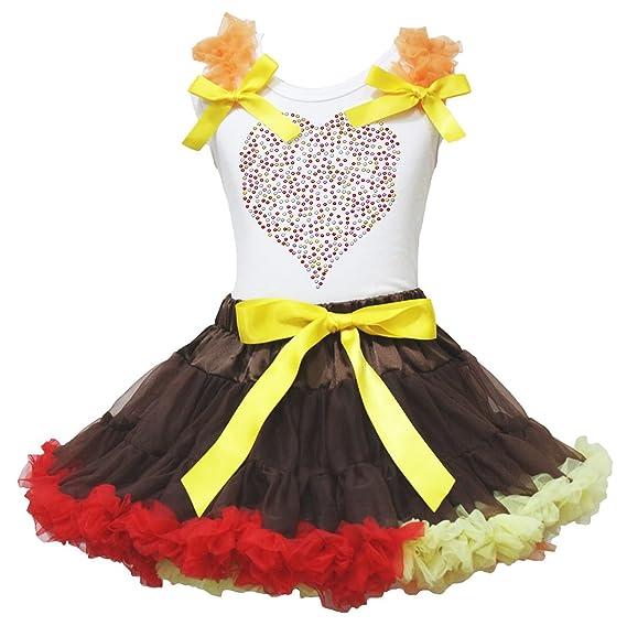 Saint Valentin robe Coeur Strass Blanc en coton pour homme Marron Ensemble  Jupe arc-en e80585108c1