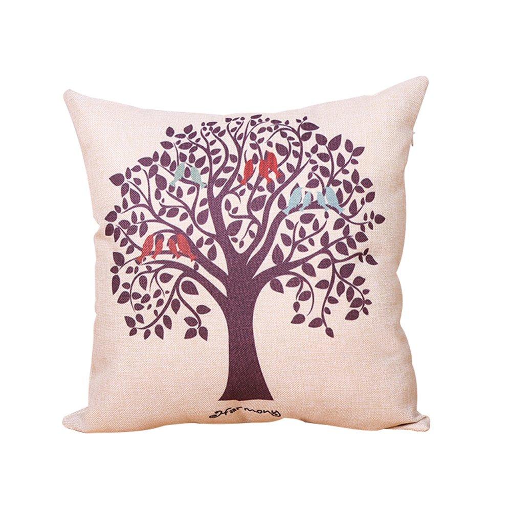 Leisial Lino Algodón Funda de Cojín Moderno Patrón de árbol de la Vida Almohada de Sofá Funda de Almohada Coche Oficina 45 * 45cm(No Núcleo de Almohada) 9G8NT136495XN