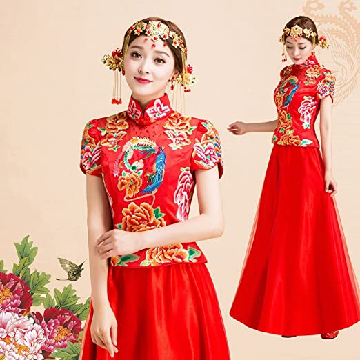 DRESS Wedding Picture Novia China Vestido de Novia de Color Rojo ...
