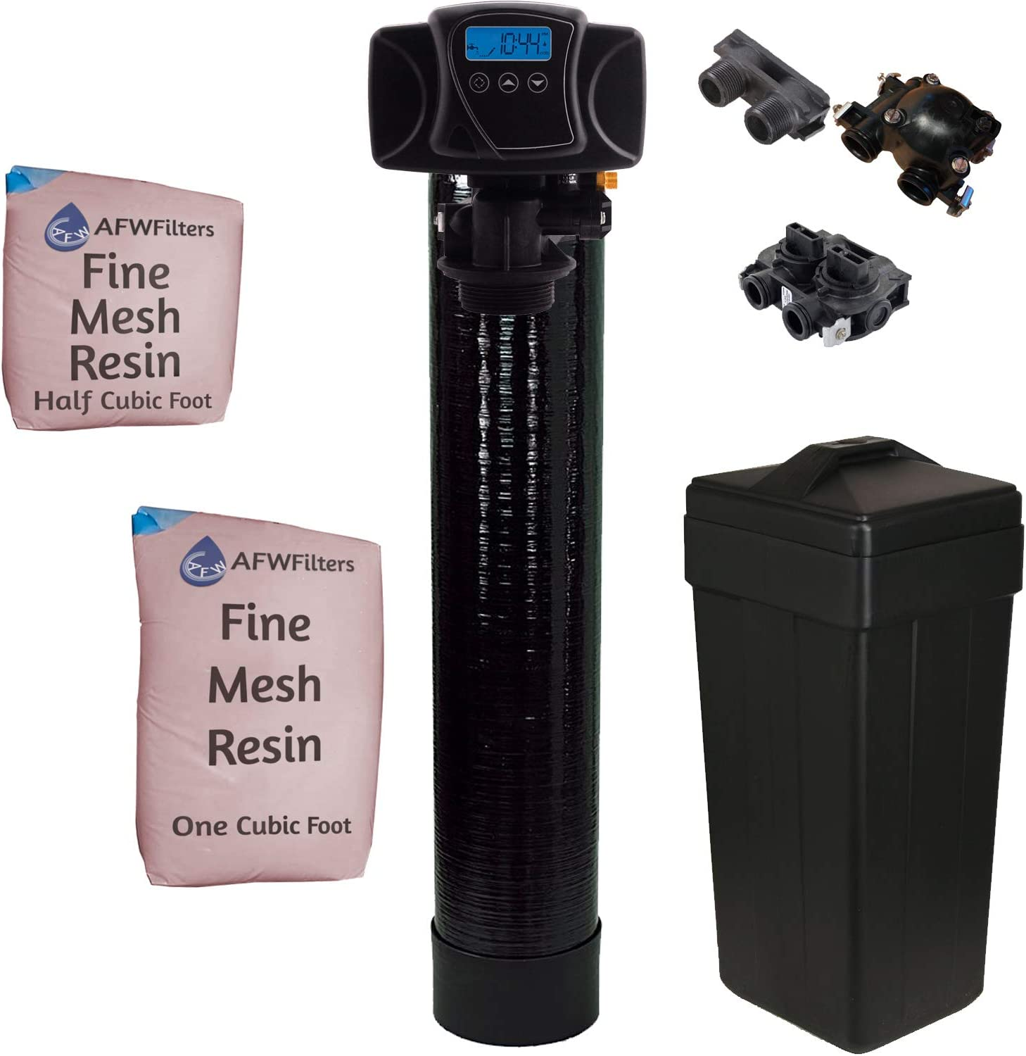 Fleck IRON Pro 2 AFW Filters Combination Water Softener Iron Filter 5600SXT Digital Metered Valve for Whole House (48,000 Grains, Black)