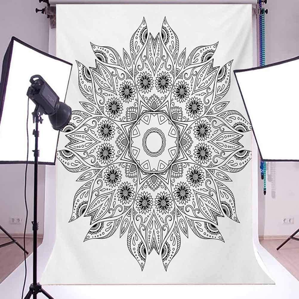 10x15 FT Photo Backdrops,Ornate Arabesque Esoteric Ancient Figure Esoteric Oriental Chakra Ritual Art Print Background for Baby Shower Bridal Wedding Studio Photography Pictures Black White