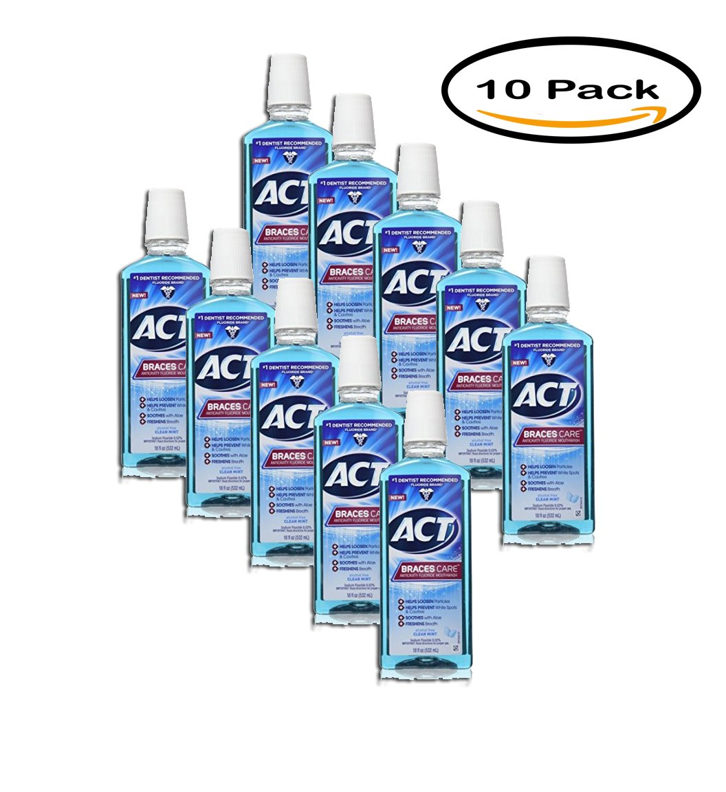 PACK OF 10 - ACT Braces Care Anticavity Fluoride Mouthwash, 18 Fl Oz