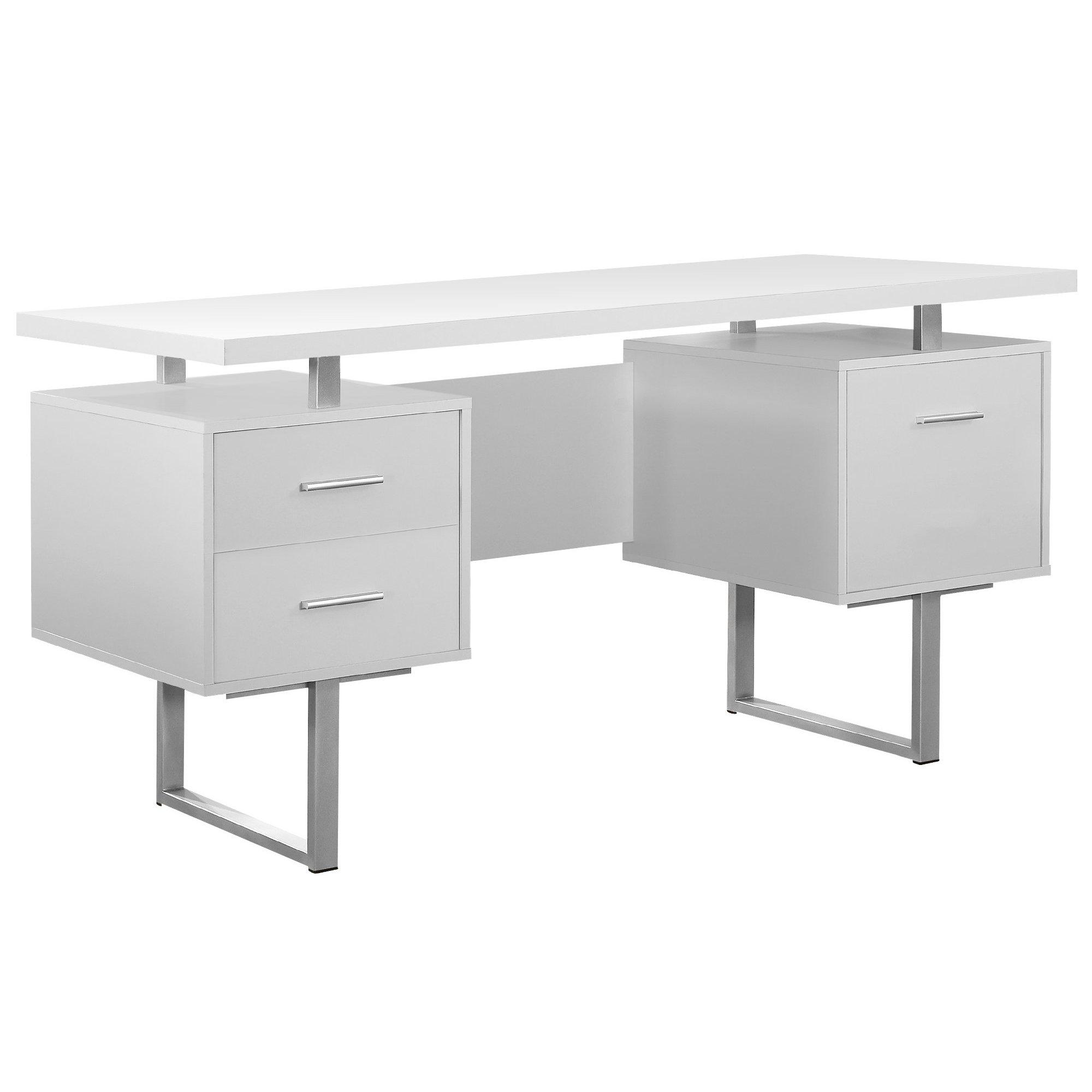 Monarch Specialties White Hollow-Core/Silver Metal Office Desk, 60-Inch by Monarch Specialties