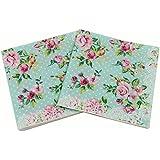 WallyE Paper Napkins for Bridal Shower Tea Party Birthday or Wedding, Vintage Blue Floral, 20 Pack