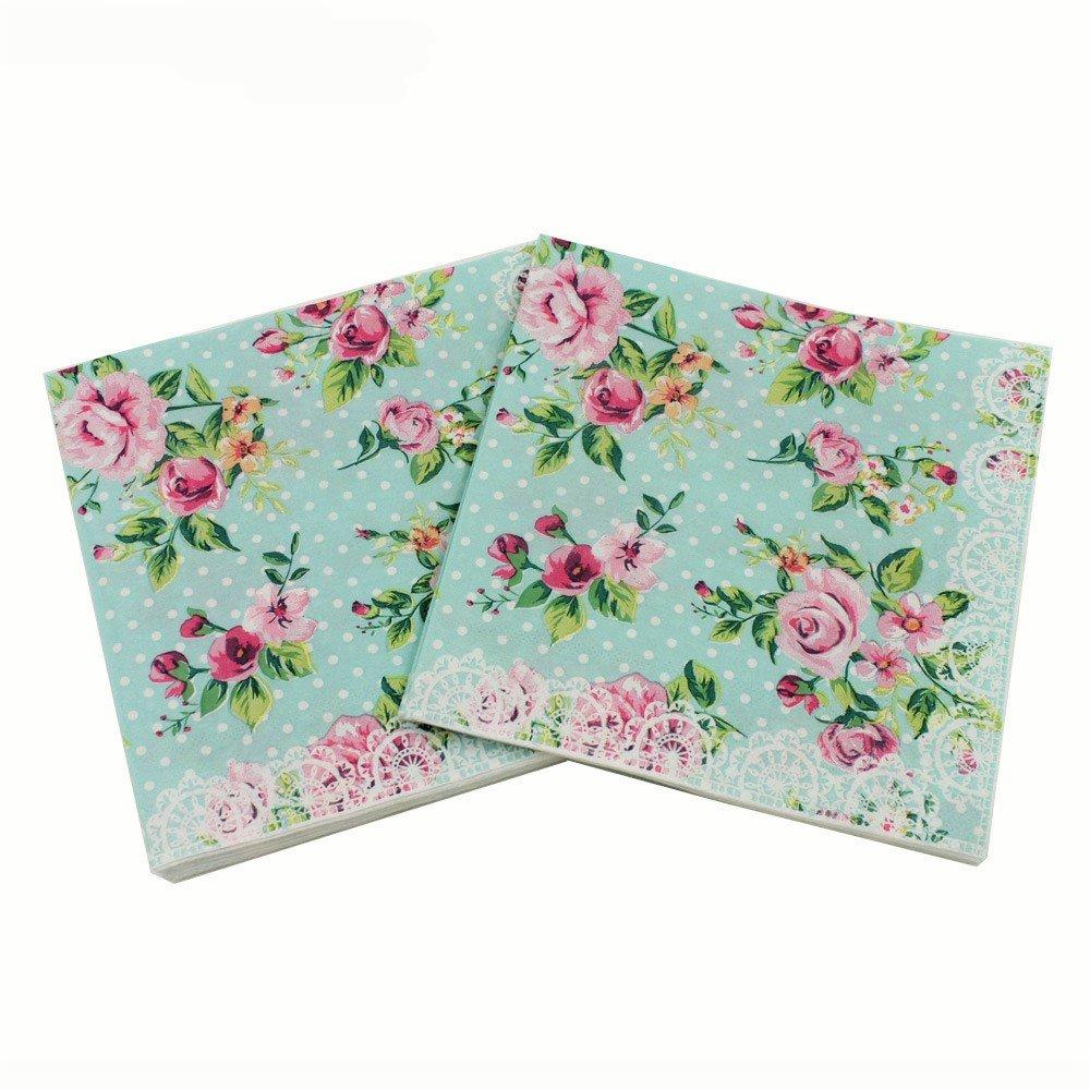 Amazon floral paper napkinsalink spring flower design vintage wallye paper napkins for bridal shower tea party birthday or wedding vintage blue floral mightylinksfo