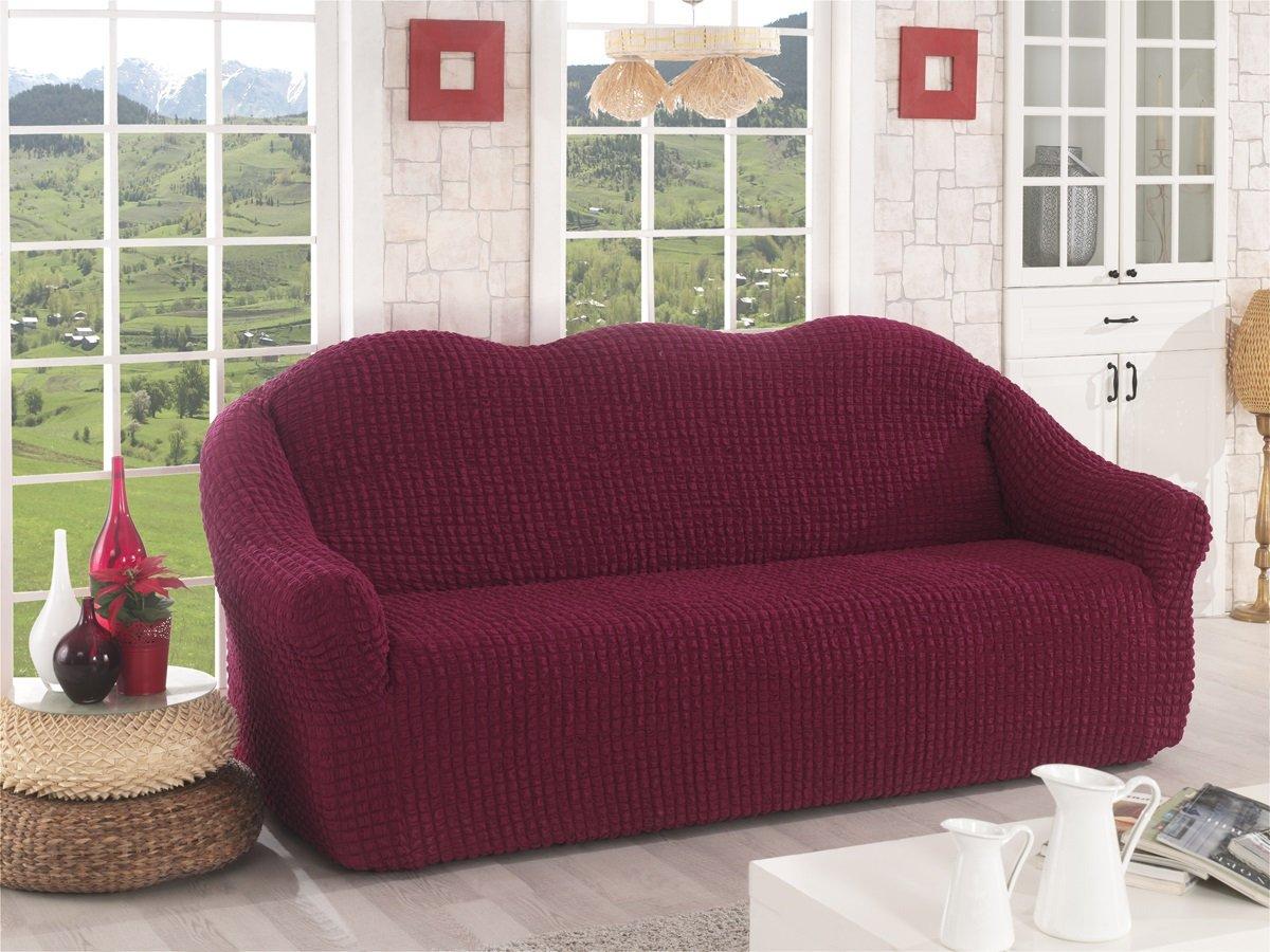 My Palace 3 Sitzer bezug in rot weinrot modern-e Sofadecke Sofabezug Stretch Husse Sofa Bezug Stretchhusse Wohnzimm-er Sofas-chutz Husse Hussen Decken Couches