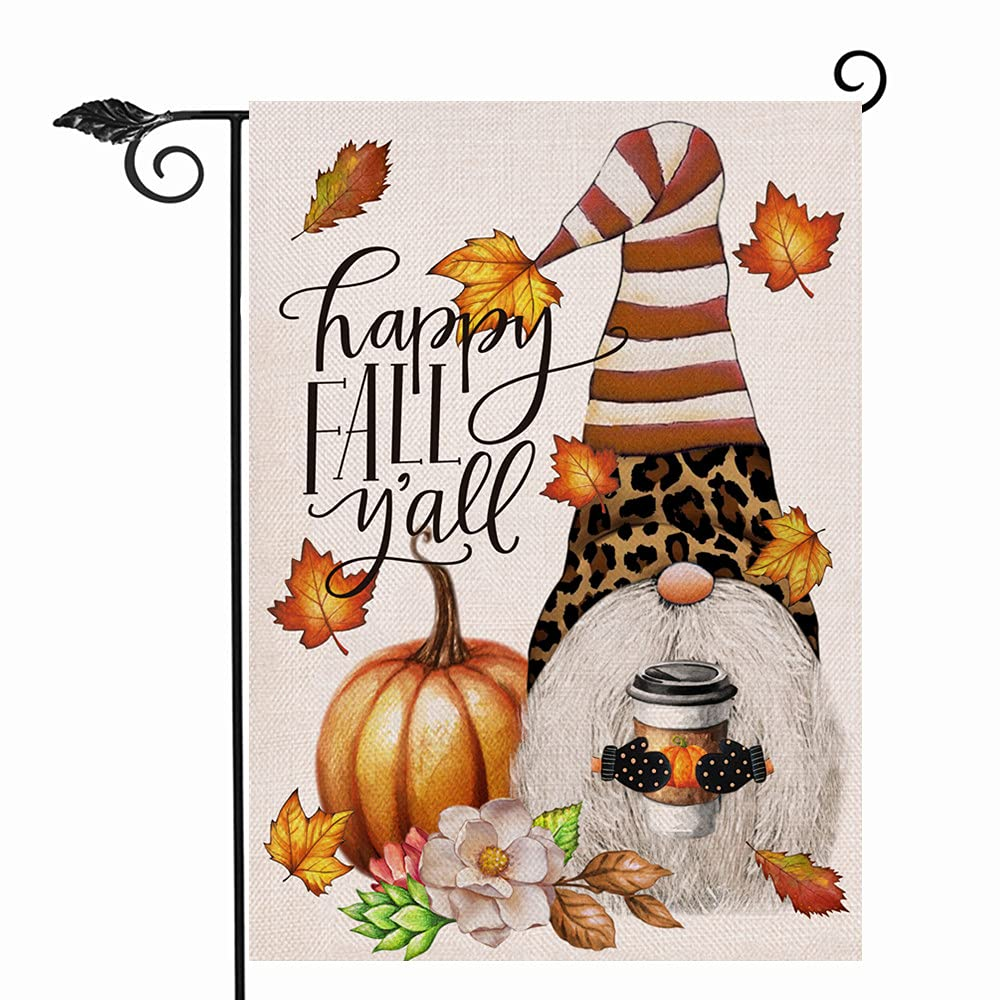 Hzppyz Happy Fall Y'all Pumpkin Leopard Striped Gnome Garden Flag Double Sided, Maple Leaves Coffee Decorative House Yard Lawn Outdoor Small Flag, Autumn Burlap Decor Home Outside Decoration 12 x 18