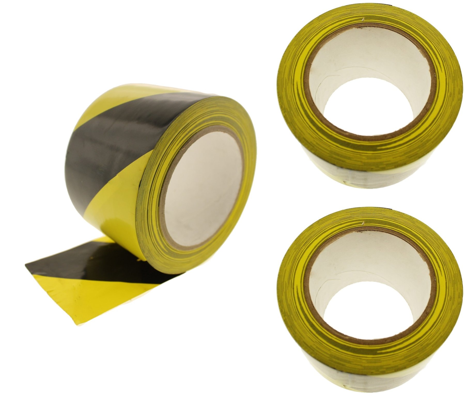 3pk of 3'' Black Yellow Striped Vinyl Tape PVC Electrical Sealing Floor OSHA Safety Marking Natural Rubber Adhesive (2.83 in 72MM) 36 Yard 7 mil