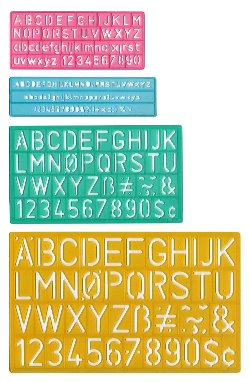 Westcott LettercraftPlastic Lettering Guide Set, Color Varies, Case Of 144 (500-02145)