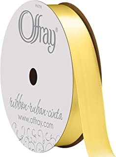 "product image for Berwick Offray 070055 5/8"" Wide Single Face Satin Ribbon, Baby Maize Yellow, 6 Yds"
