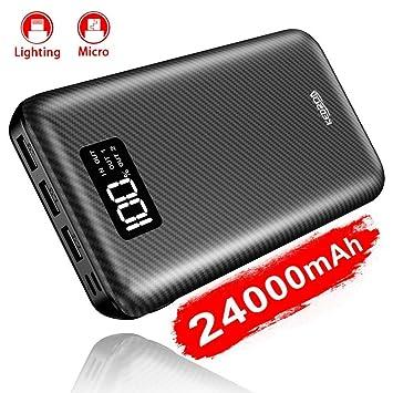 KEDRON Power Bank 24000mAh con 2 Entrada y 3 Salida USB, Cargador Móvil Portátil Batería Externa para Smartphones, Tablets y más (Power Bank)