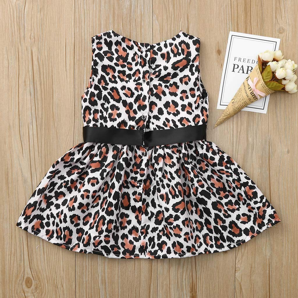 Hstore❀Toddler Kids Baby Girl Leopard Print Princess Casual Dress Sundress Clothes Coffee