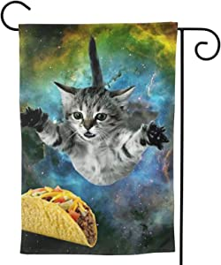 Starry Sky Cat Garden Flag Space Burger House Flag Vertical Double Sided Yard Outdoor Decor Party 12.5 X 18 Inch