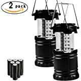 2 Packs Hippih Portable Collapsible Multifunctional Outdoor Emergency LED Camping Lantern with 6 AA batteries, Black