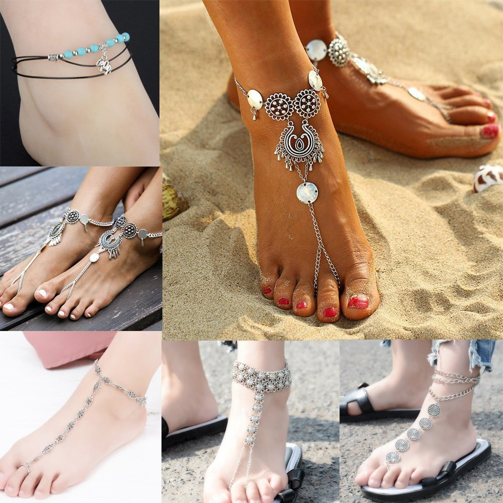 Yantu 6 pcs Starfish Ankle Bracelet Beach Wedding Anklets Barefoot Sandals Foot Jewelry