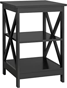 YAHEETECH 3 Tier Sofa Side End Table with Shelf, X Shape Chair Side Coffee Snack Table for Living Room, Bedside Table Night Stand Display Unit Organizer, Black