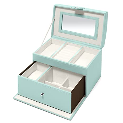 Amazon.com: Swing Design Nova Leatherette Small Jewelry Box (Blue ...