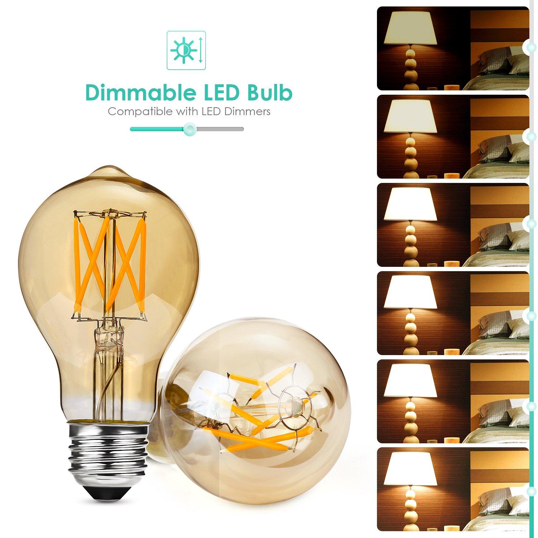 Albrillo Regulable E27 LED, Equivalente a 40 W, Filamento Bombilla Retro Edison Vintage, Blanco Cálido, 5W Warmweiss, E27, 5.00 wattsW, 230.00 voltsV [Clase ...