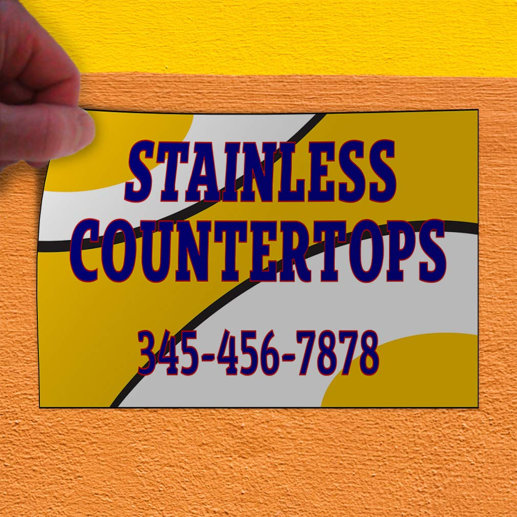 Custom Door Decals Vinyl Stickers Multiple Sizes Stainless Countertops Phone Number A Business Countertops Outdoor Luggage /& Bumper Stickers for Cars Blue 64X42Inches Set of 2