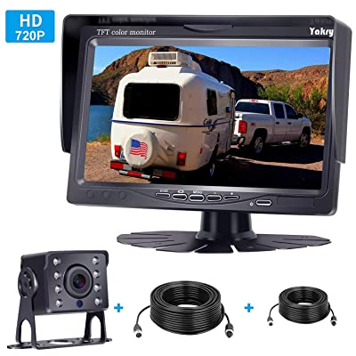 Yakry HD 720P Backup Camera 7 Inch Monitor Kit System for Trucks, Trailers, Campers, Fifth Wheels IP69K Waterproof Night Vision Rear View High-Speed Observation System Guide Lines ON / OFF: Car Electronics