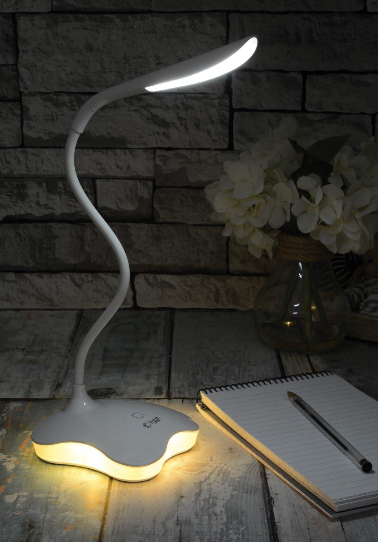 AVL359 WHITE DIMMABLE TOUCH SENSOR LED USB DESK LAMP W// NIGHTLIGHT FLEXIBLE NECK /& 3 BRIGHTNESS LEVELS