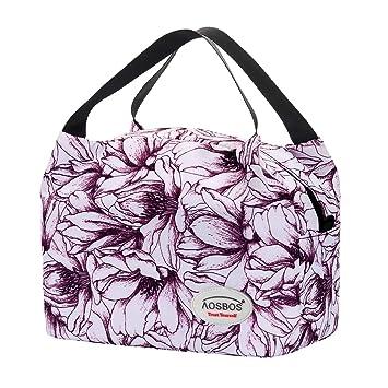 006523e125 Aosbos Sac Isotherme Femmes Lunch Bag Partable Cabas Thermique pour  Déjeuner 8,5L