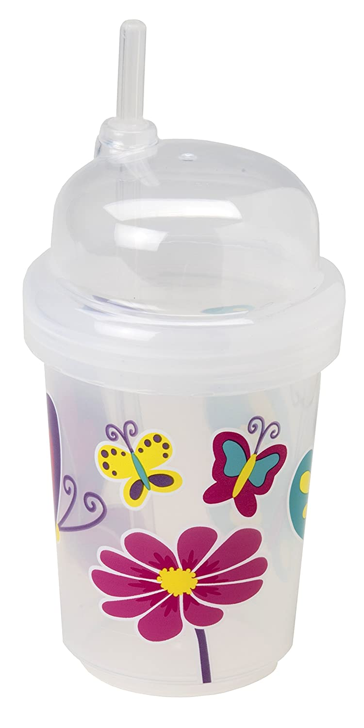 nuspin kids 8 oz Zoomi Straw Sippy Cup, Butterflies Style 1404-002