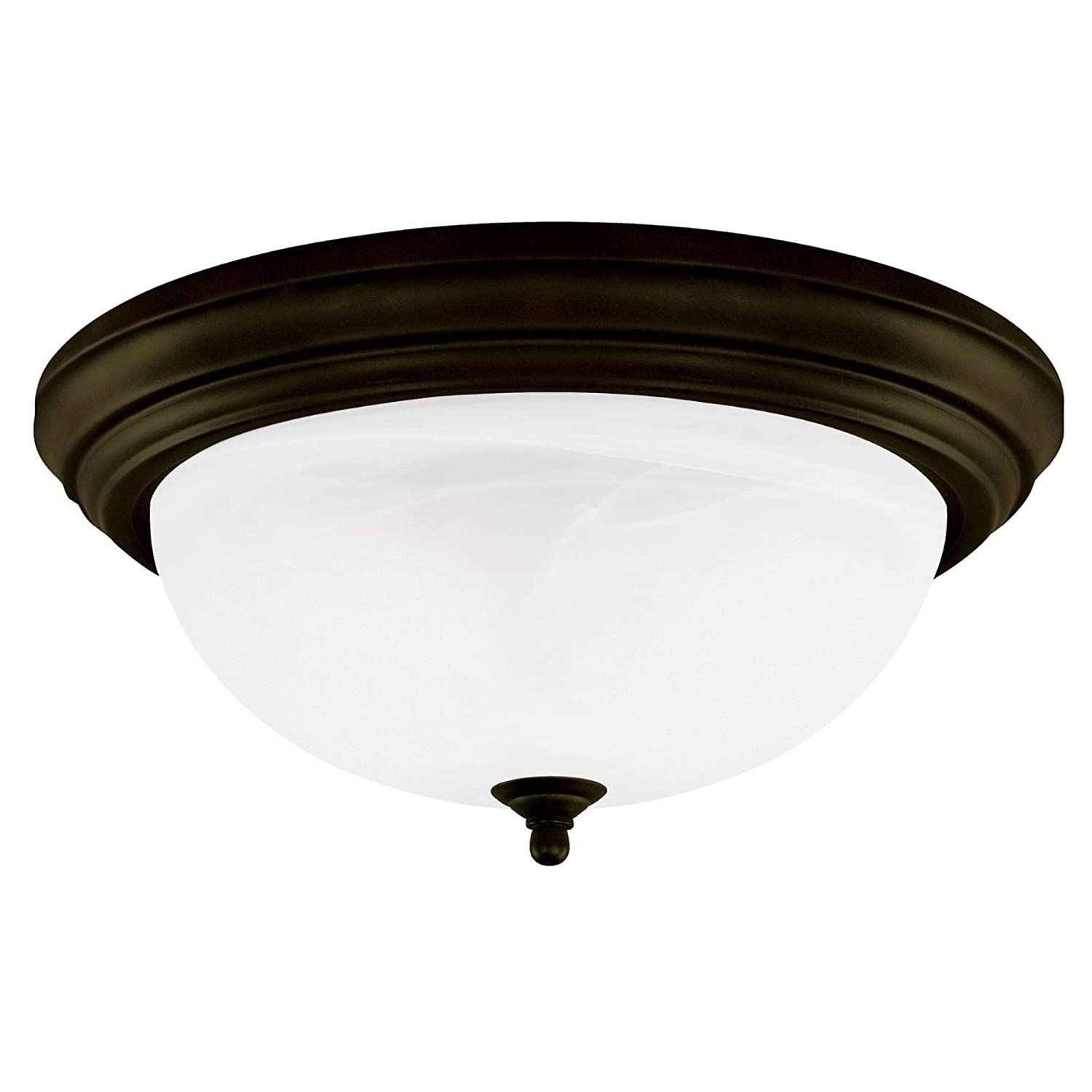 Westinghouse 64292 15-Inch Three-Light Flush Mount Fixture, Oil Rubbed Bronze with Frosted White Alabaster Globe