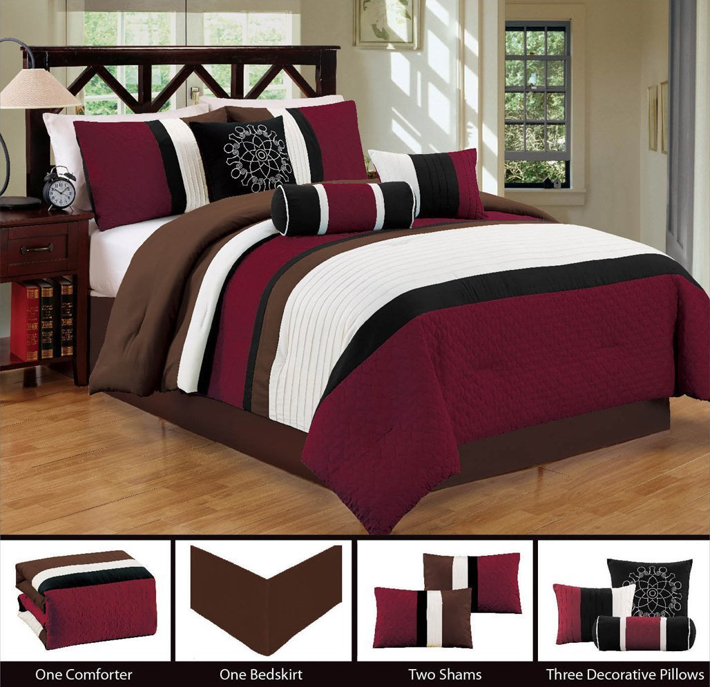 Modern 7 Piece Bedding Burgundy / Brown / White / Black Pin Tuck / Embroidered King Comforter Set with accent pillows