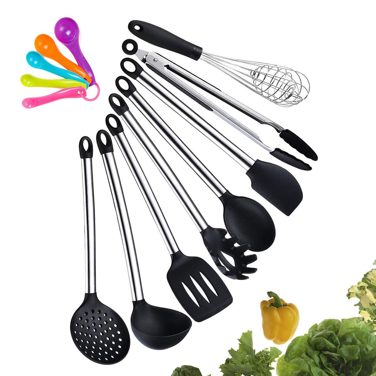 Details about Kitchen Utensil Set, 8 Piece Best Silicone Kitchen Utensils,  Non-Stick Cooking