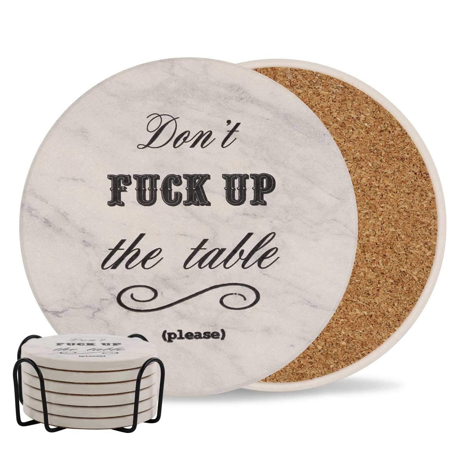 Coasters for Drinks | Absorbent Drink Coaster (6-Piece Set with Holder) | Housewarming Hostess Gifts, Man Cave House Warming Presents Decor, Wedding Registry, Living Room Decorations, Cool Gift Ideas by Ankzon