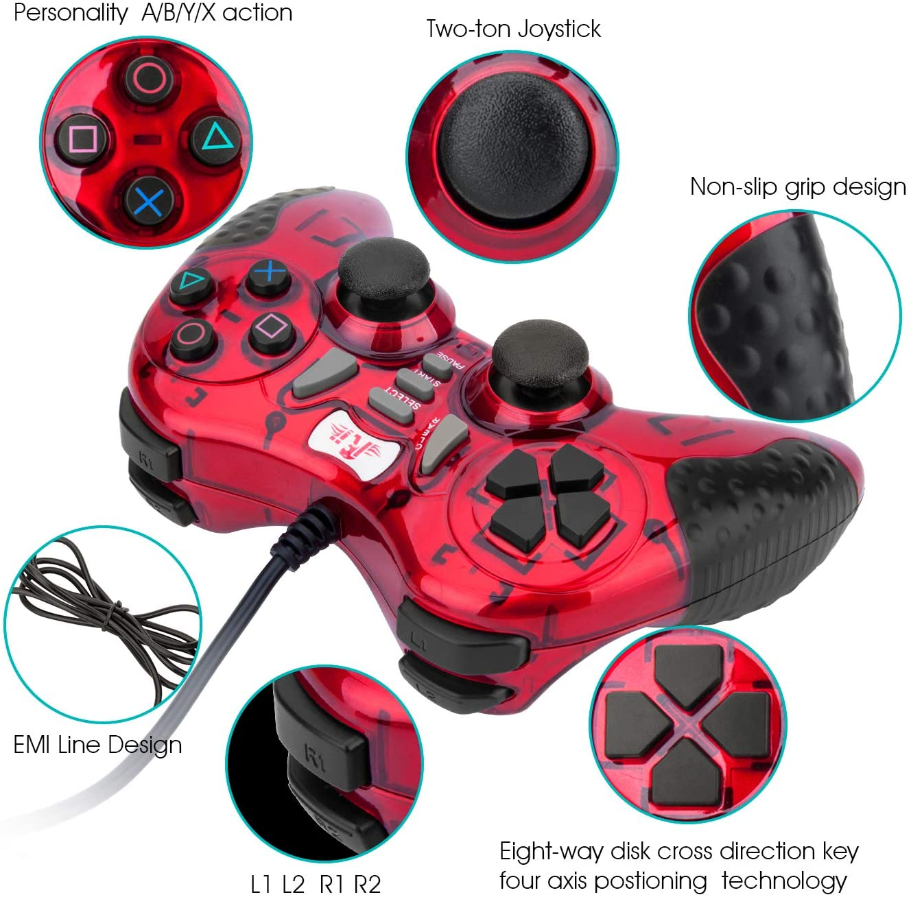 Gaming Wired Gamepad Controller Rii GP500 for PC Windows 98 XP 7 8 10 Games Playstation 3 STEAM Gaming with Joystick Dual Vibration Asymmetric USB Joy pad Handler (TURB 12 FIRE Buttons 4 AXLS): Computers & Accessories