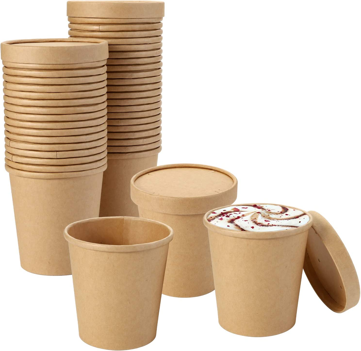Suwimut 40 Pack Disposable Bowls with Lid, 16 oz Kraft Paper Bowls with Lid, Small Brown Rolled Rim Storage Bucket for Soup, Sundae, Frozen Dessert Yogurt Ice Cream, Hot or Cold Dish To Go Packaging