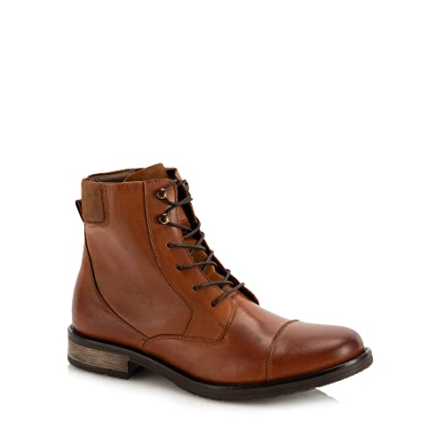 aadd5afbb33 J by Jasper Conran Men Tan Leather  Capri  Lace Up Boots  Amazon.co ...
