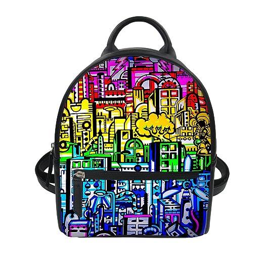 363b30e7289a Buildings Pattern Women Mini Oxford School Backpack Purse Rucksack Girls Shoulder  Bag for College