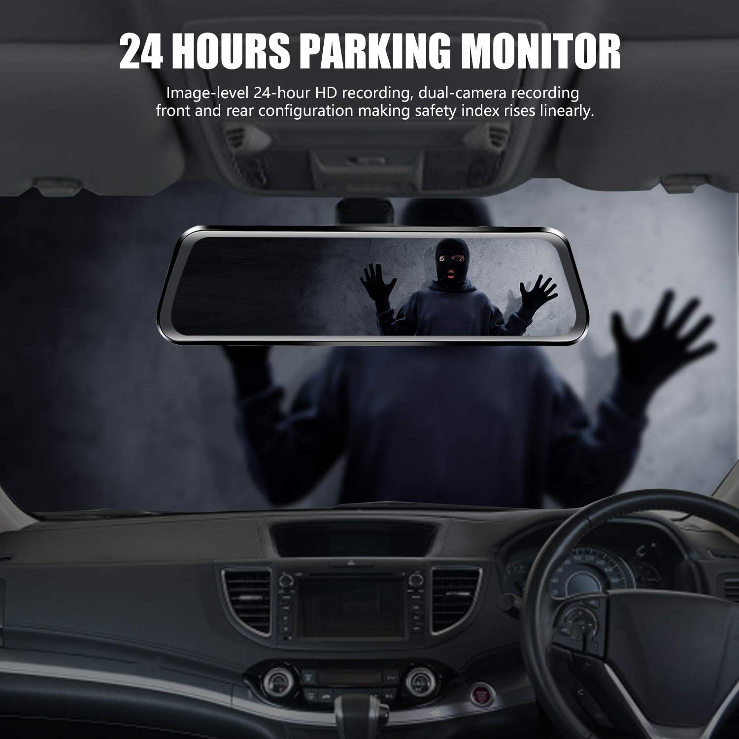10 Mirror Dash Cam Backup Camera IPS Full Touch Screen 1080P Resolution Dual Lens,Rearview Backup Camera with Night Vision/&Reversing Assisting G-Sensor Parking Monitor