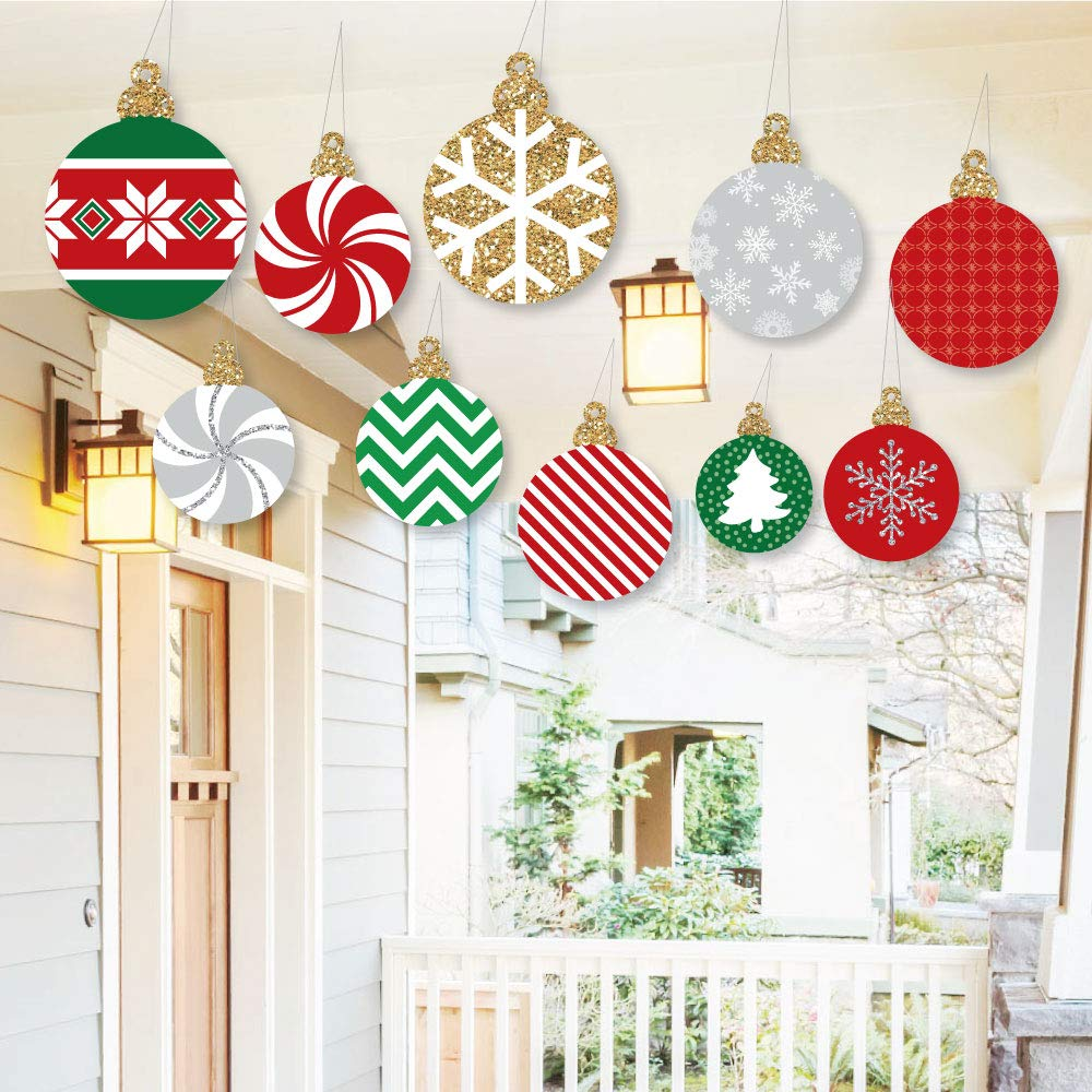 Hanging Christmas Decorations.Hanging Ornaments Outdoor Holiday And Christmas Hanging Porch Tree Yard Decorations 10 Pieces