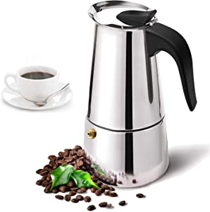 Stovetop Espresso Maker with Stainless Steel, Moka Pot,Easy to Operate & Quick Cleanup Pot,Classic Italian Coffee Maker Express Moka Pot,Suitable for Induction Cookers(6 Cup)