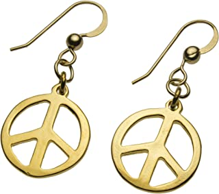product image for Delicate Peace Symbol Gold-dipped Earrings on French Hooks