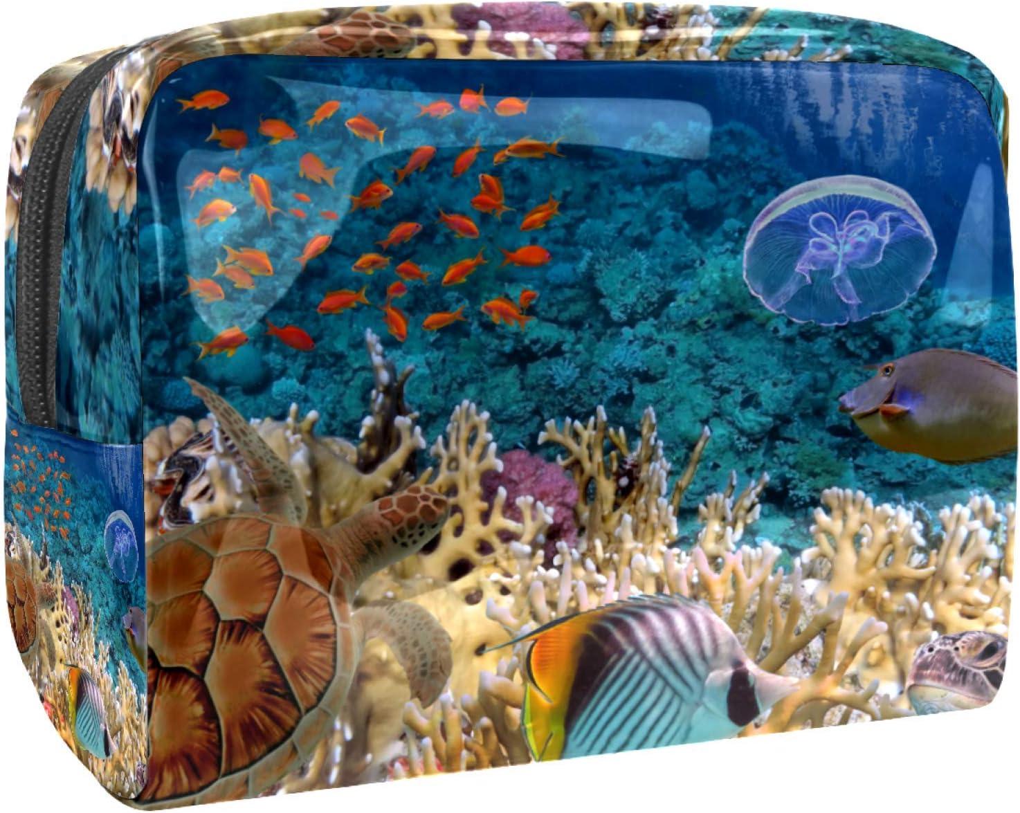 Bolsa de maquillaje portátil con cremallera bolsa de aseo de viaje para las mujeres práctico almacenamiento cosmético bolsa pescado tortuga mar bajo el agua