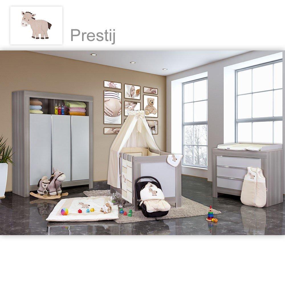 Babyzimmer Felix in akaziengrau 10 tlg. mit 3 türigem Kl. + Set Prestij beige