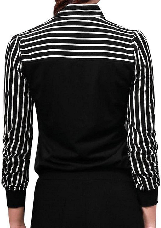 Primavera Camiseta para Mujer, Moda Cuello Redondo Blusa a Rayas ...